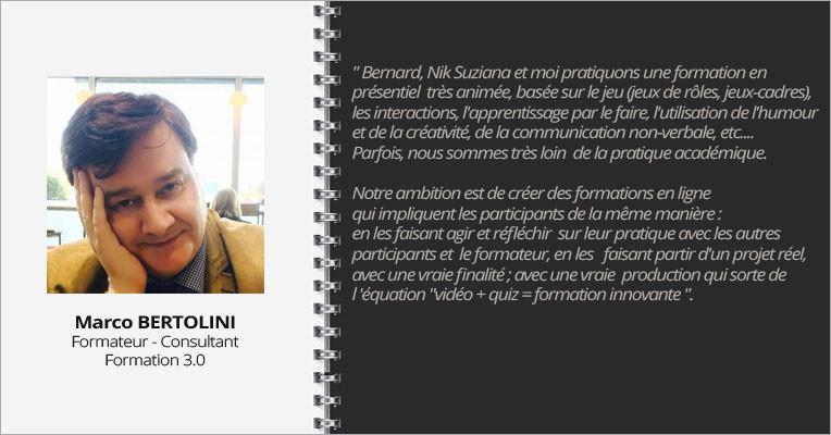 Interview de Marco Bertolini interviewé sur le portail de cours en ligne